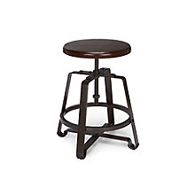 Adjustable Height Small Stool with Solid Wood Seat, 8810121