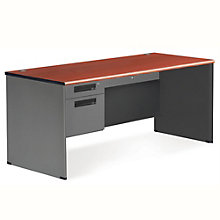 "Panel Desk with Pedestal - 67""W x 29.5""D, 8802091"