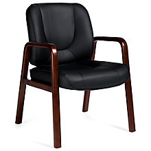 Chambers Bonded Leather Guest Chair with Wood Accents, 8814065
