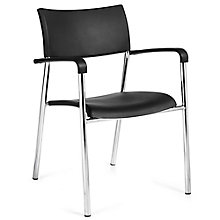 Burleigh Half-Back Plastic Stack Chair with Arms, 8814074