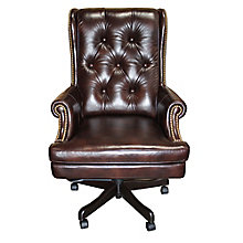 Prestige: Scroll Arm Tufted Leather Desk Chair, 8814543