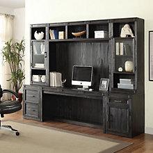 """Hudson Storage Desk with Glass Door Hutches - 105""""W, 8805011"""