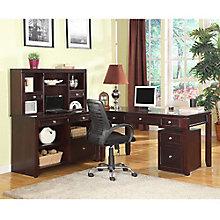 """Boston L-Desk with Hutch - 77""""W x 74.625""""D, 8804166"""