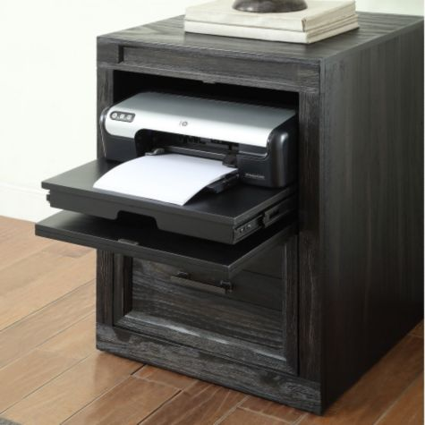 Top drawer features pull-out tray