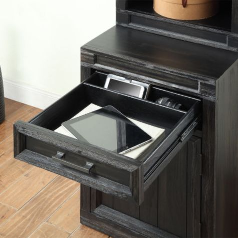Storage cabinet features one drawer
