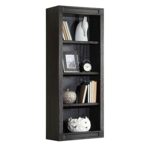 Close up of open bookcase hutch