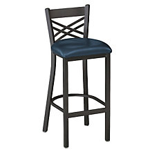 Cross-Back Vinyl Break Room Stool, PHX-230BHBK-BV