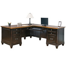 "Hartford Two-Tone Double Pedestal Right L-Desk - 69.5""W, 8803198"