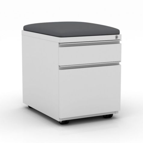 White file pedestal with Carbon Gray cushion