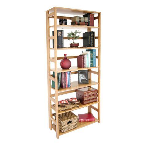 Wood Six Shelf Folding Bookcase Ren Hbcf6730