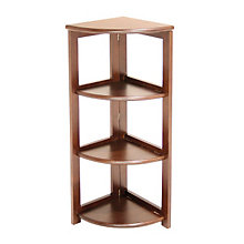 Wood Three-Shelf Corner Bookcase, REN-HBCFC3412