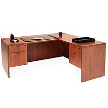 "Executive L-Desk with Locking Pedestals - 71""W X 70""D, REN-L7135LD"