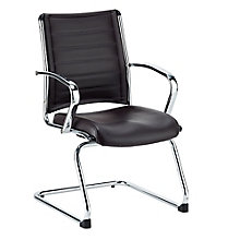 Europa Chrome Aluminum Base Leather Guest Chair, 8813858