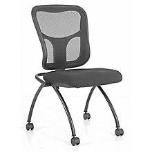 Flip Armless Mesh Back Fabric Seat Nesting Chair, 8813862