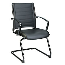 Europa Black Aluminum Base Leather Guest Chair, 8813865