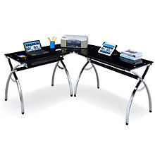 Techni Mobili Black Glass L-Shaped Computer Desk, RTP-10212