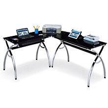 Techni Mobili Black Glass L Shaped Computer Desk, RTP 10212