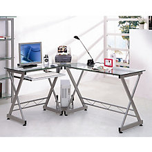 Glass and Steel L-Desk with Reversible Return, RTP-3802