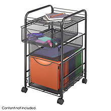 Black Mesh Mobile File Cart with Storage Drawers, SAF-5213BL
