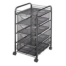 Four Drawer Black Mesh Utility Cart, SAF-5214BL