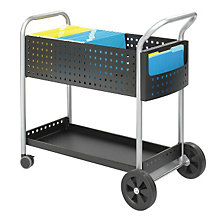 Contemporary Black Steel Mail Cart, SAF-5239BL