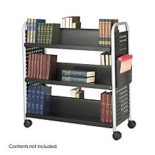 Double-Sided Six Shelf Library Book Cart, SAF-5335BL
