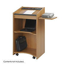 Executive Mobile Lectern with Side Shelf, SAF-8918