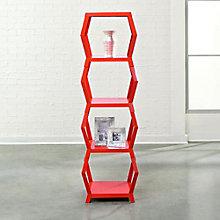 "Soft Modern Four Shelf Hexagonal Bookcase - 55""H, SAU-10976"