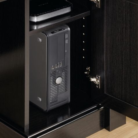 CPU storage and adjustable shelf