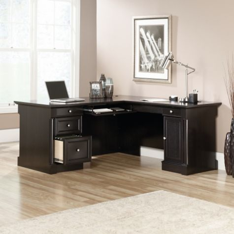 L-desk with file drawer open