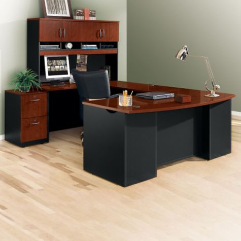 Executive bow front u desk with hutch 72w for Wrap around desk plans