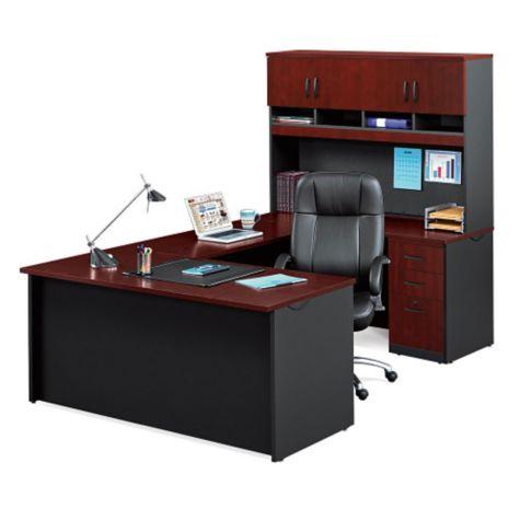 60 Quot W Sauder Via Compact U Desk W Hutch Officefurniture Com