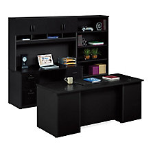 Via Executive Desk and Locking Storage Wall Set, 8803862
