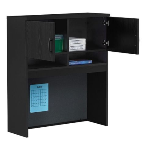 Hutch for lateral file with open doors