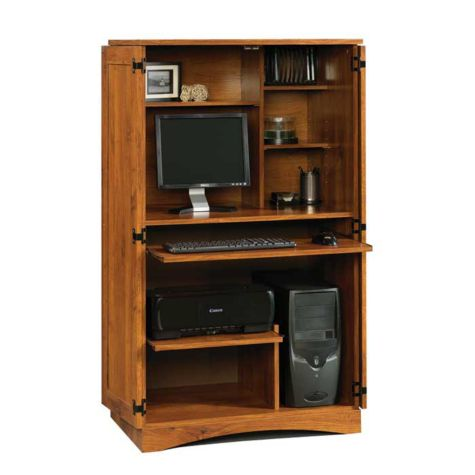 Sauder Harvest Mill Computer Armoire In Abbey Oak