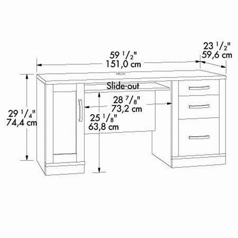 Credenza dimensional drawing