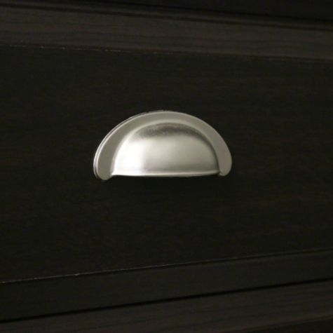 Nickel Finished Bin Shaped Drawer Pulls