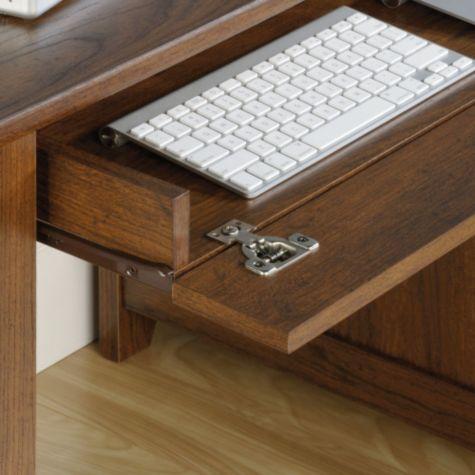 Flip-down keyboard drawer