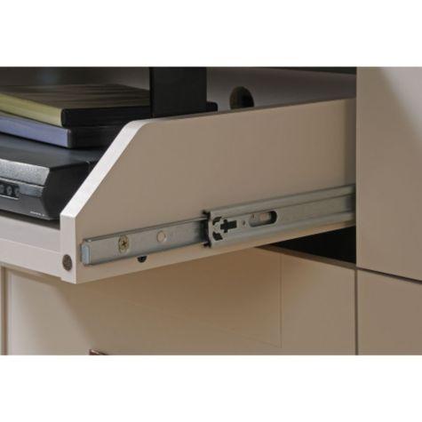 Close up of flip up drawer glides