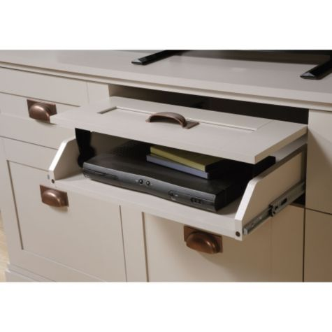 Front view of flip up drawer