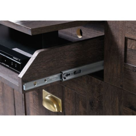 Close up of flip front drawer glides