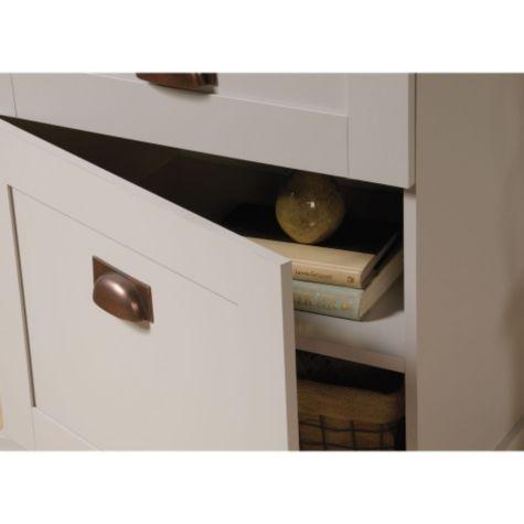 Close up of cabinet door open