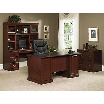 executive office furniture set sauder heritage hill classic cherry traditional executive 15235