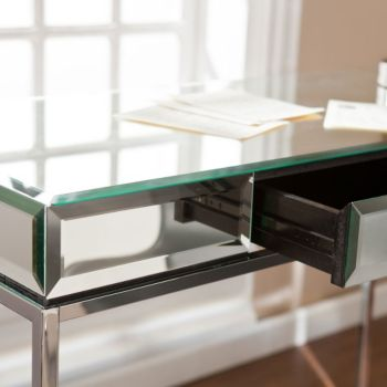 Dana Mirrored Surface Writing Desk 43w Officefurniture Com