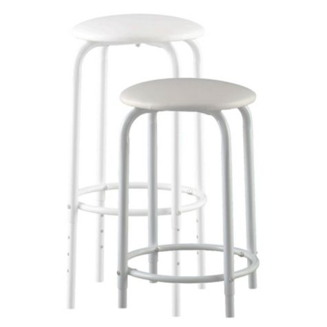 Stool is Height Adjustable- Shown in White