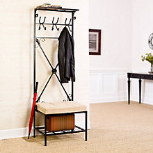 "Entryway Storage Rack 72.5""H with Bench, 8802768"
