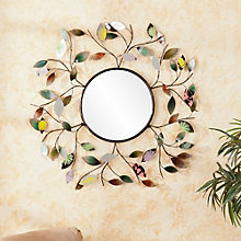 "Garland Leaf Accented Wall Mirror - 32.5""H x 32.5""W, 8802724"