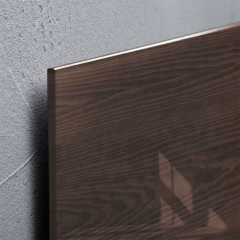 Close up of Dark Wood glass edge