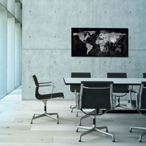 World Map glass board shown in conference room