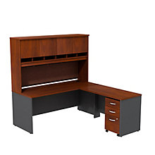 Series C L-Desk with Hutch and Pedestal 72-W, 8808129